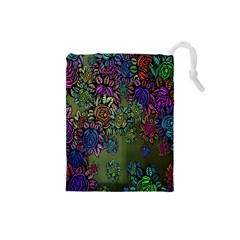 Grunge Rose Background Pattern Drawstring Pouches (small)