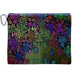 Grunge Rose Background Pattern Canvas Cosmetic Bag (xxxl)