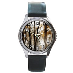Fall Forest Artistic Background Round Metal Watch