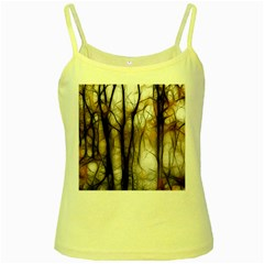 Fall Forest Artistic Background Yellow Spaghetti Tank