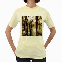 Fall Forest Artistic Background Women s Yellow T-Shirt