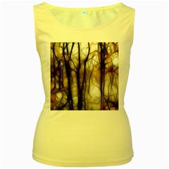 Fall Forest Artistic Background Women s Yellow Tank Top