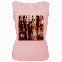 Fall Forest Artistic Background Women s Pink Tank Top