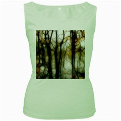 Fall Forest Artistic Background Women s Green Tank Top