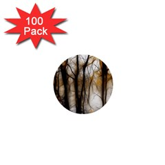 Fall Forest Artistic Background 1  Mini Buttons (100 pack)