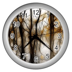 Fall Forest Artistic Background Wall Clocks (Silver)