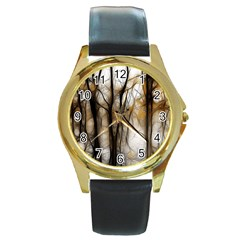Fall Forest Artistic Background Round Gold Metal Watch