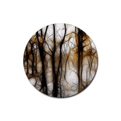 Fall Forest Artistic Background Rubber Coaster (Round)
