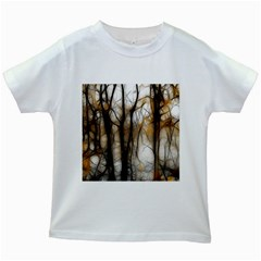 Fall Forest Artistic Background Kids White T Shirts