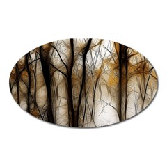 Fall Forest Artistic Background Oval Magnet