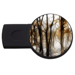 Fall Forest Artistic Background USB Flash Drive Round (1 GB)
