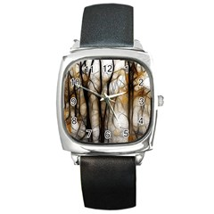 Fall Forest Artistic Background Square Metal Watch