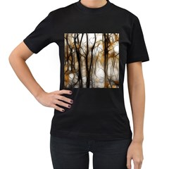 Fall Forest Artistic Background Women s T-Shirt (Black) (Two Sided)
