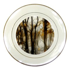 Fall Forest Artistic Background Porcelain Plates