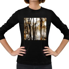 Fall Forest Artistic Background Women s Long Sleeve Dark T-Shirts