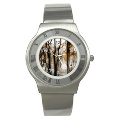 Fall Forest Artistic Background Stainless Steel Watch