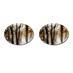Fall Forest Artistic Background Cufflinks (oval)