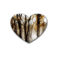 Fall Forest Artistic Background Heart Coaster (4 Pack)