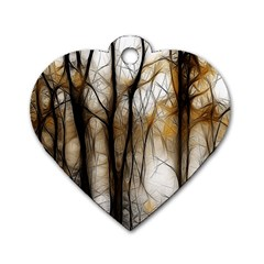 Fall Forest Artistic Background Dog Tag Heart (Two Sides)