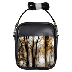 Fall Forest Artistic Background Girls Sling Bags
