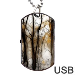 Fall Forest Artistic Background Dog Tag USB Flash (Two Sides)