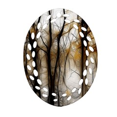 Fall Forest Artistic Background Ornament (Oval Filigree)