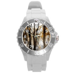 Fall Forest Artistic Background Round Plastic Sport Watch (L)