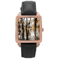 Fall Forest Artistic Background Rose Gold Leather Watch