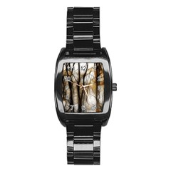 Fall Forest Artistic Background Stainless Steel Barrel Watch