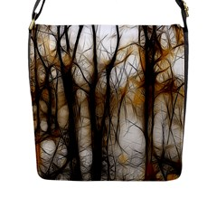 Fall Forest Artistic Background Flap Messenger Bag (L)