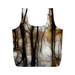 Fall Forest Artistic Background Full Print Recycle Bags (m)