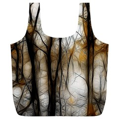 Fall Forest Artistic Background Full Print Recycle Bags (l)