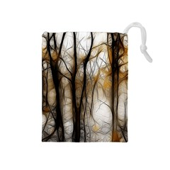 Fall Forest Artistic Background Drawstring Pouches (Medium)