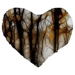 Fall Forest Artistic Background Large 19  Premium Flano Heart Shape Cushions