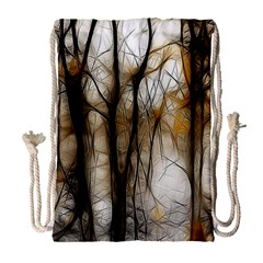 Fall Forest Artistic Background Drawstring Bag (Large)