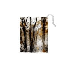Fall Forest Artistic Background Drawstring Pouches (XS)