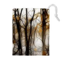 Fall Forest Artistic Background Drawstring Pouches (Extra Large)
