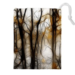 Fall Forest Artistic Background Drawstring Pouches (xxl)
