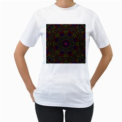 Rainbow Kaleidoscope Women s T Shirt (white) (two Sided)
