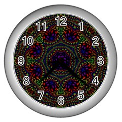 Rainbow Kaleidoscope Wall Clocks (silver)