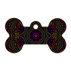 Rainbow Kaleidoscope Dog Tag Bone (One Side)