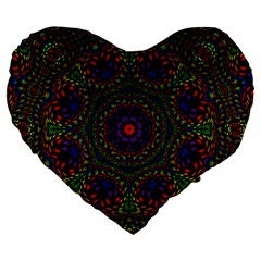 Rainbow Kaleidoscope Large 19  Premium Heart Shape Cushions