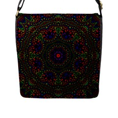 Rainbow Kaleidoscope Flap Messenger Bag (L)