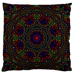 Rainbow Kaleidoscope Large Flano Cushion Case (One Side)