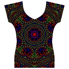 Rainbow Kaleidoscope Women s V-Neck Cap Sleeve Top