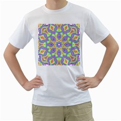Rainbow Kaleidoscope Men s T Shirt (white) (two Sided)