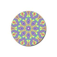 Rainbow Kaleidoscope Rubber Round Coaster (4 Pack)