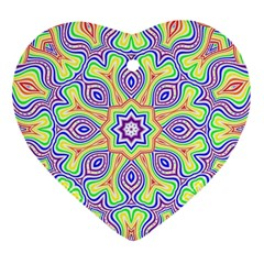 Rainbow Kaleidoscope Heart Ornament (Two Sides)