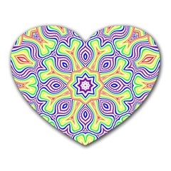 Rainbow Kaleidoscope Heart Mousepads
