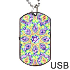 Rainbow Kaleidoscope Dog Tag USB Flash (Two Sides)